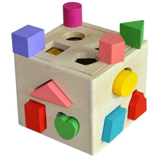 Shape Sorting Cube Classic Wooden Block Toddler Educational Toy