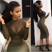 2016 new style  Sexy high neck long-sleeve bodycon dress evening luxury see through celebrity party dress hl  AA-660