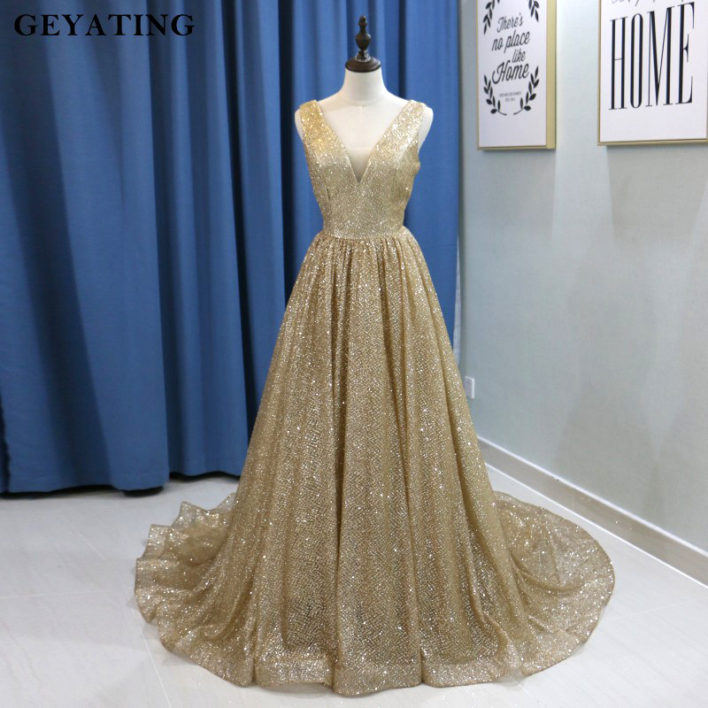 Bling Champagne Gold Sequins Arabic   Evening     Dress   2019 Long Dubai Prom   Dresses   Sexy V-neck Backless Plus Size Women Formal Gowns