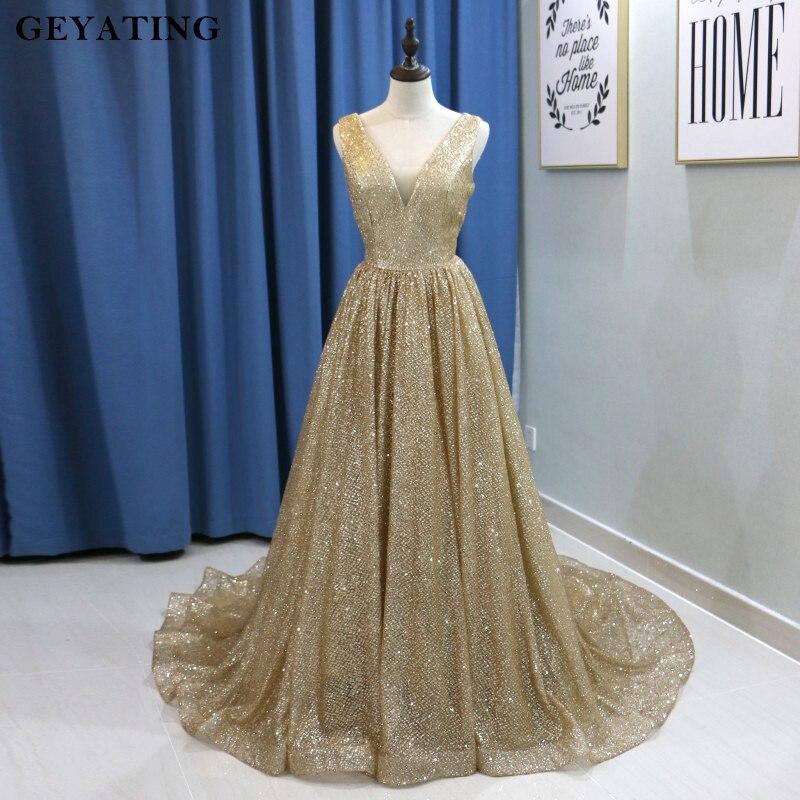 Bling Champagne Or Paillettes Arabe robe de soirée 2019 Longue Dubaï robes de bal Sexy Col V Dos Nu grande taille Femmes robe de soirée formelle