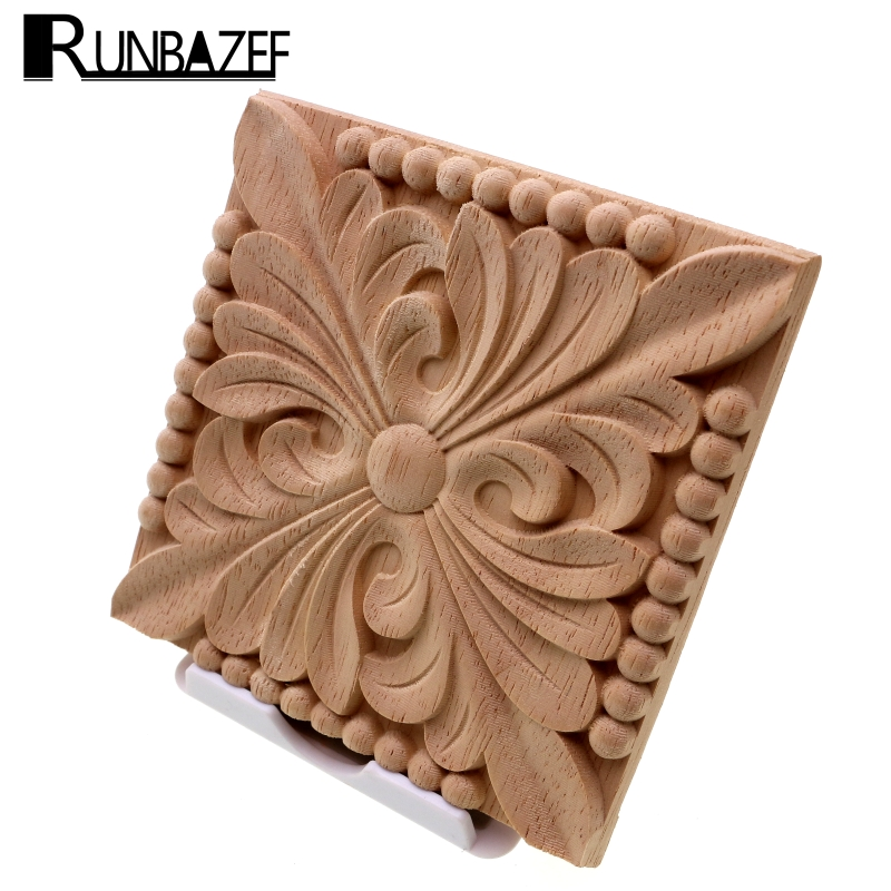 RUNBAZEF Natural Wood Appliques Square Flower Carving Decals Decorative Wooden Mouldings For Cabinet Door Furniture Decor Craft