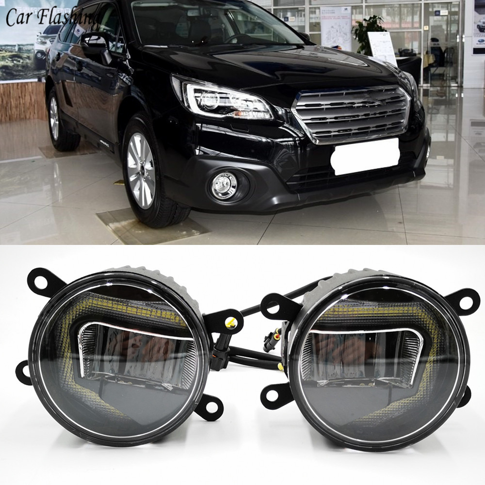 3-IN-1 Functions Auto LED DRL Daytime Running Light Car Projector Fog Lamp With Yellow Signal For Subaru Outback 2013 -2016