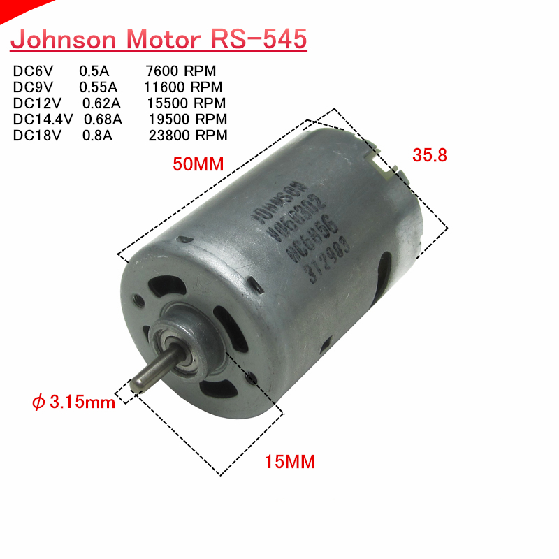 JOHNSON RS-775 DC 12V-24V 18V 17500RPM High Speed Motor DIY Electric Drill Tools