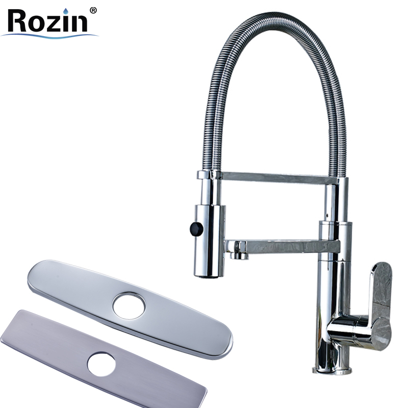 Chrome Brass Pull Down with Bracket Kitchen Faucet Single Handle Brass Side Spout Kitchen Mixers with 10 Hole Cover Plate chrome finish brass kitchen faucet with flexible spout wall mount