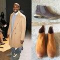 Moda Botas de Estilo Vintage Botas 3 Colores Zapatos Kanye West Chelsea Hombre de Gamuza de Cuero Botas de Los Hombres