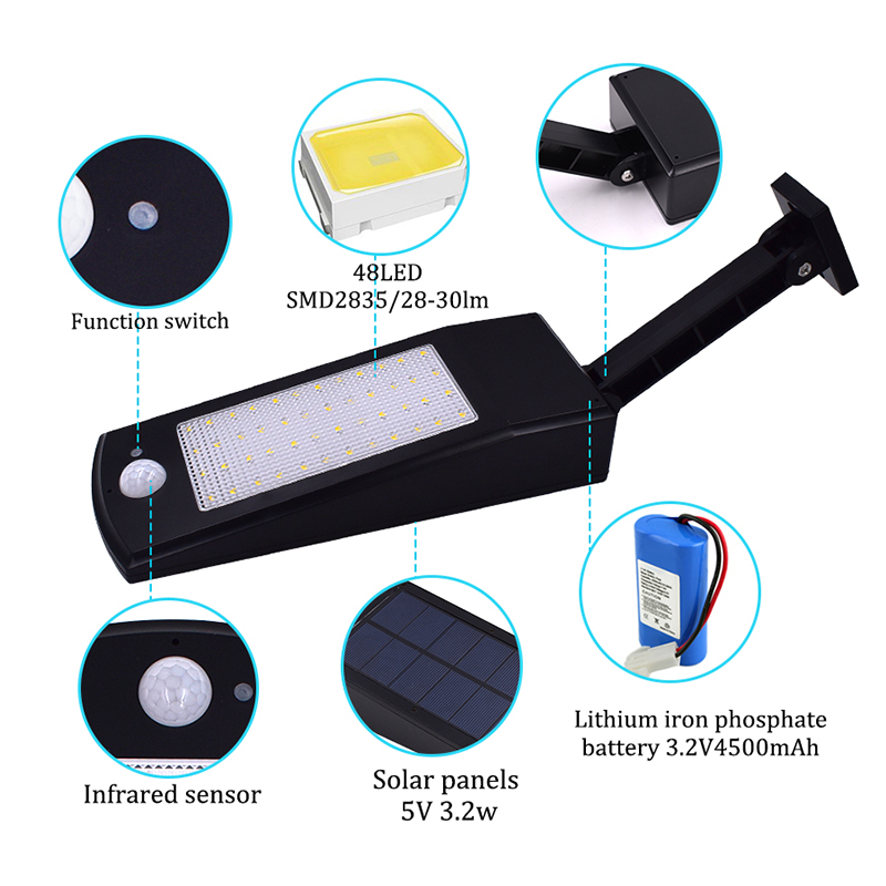 Waterproof and Motion Sensor Outdoor Solar Light with 48 LED and Rotatable Pole for Stairs and Yard 1