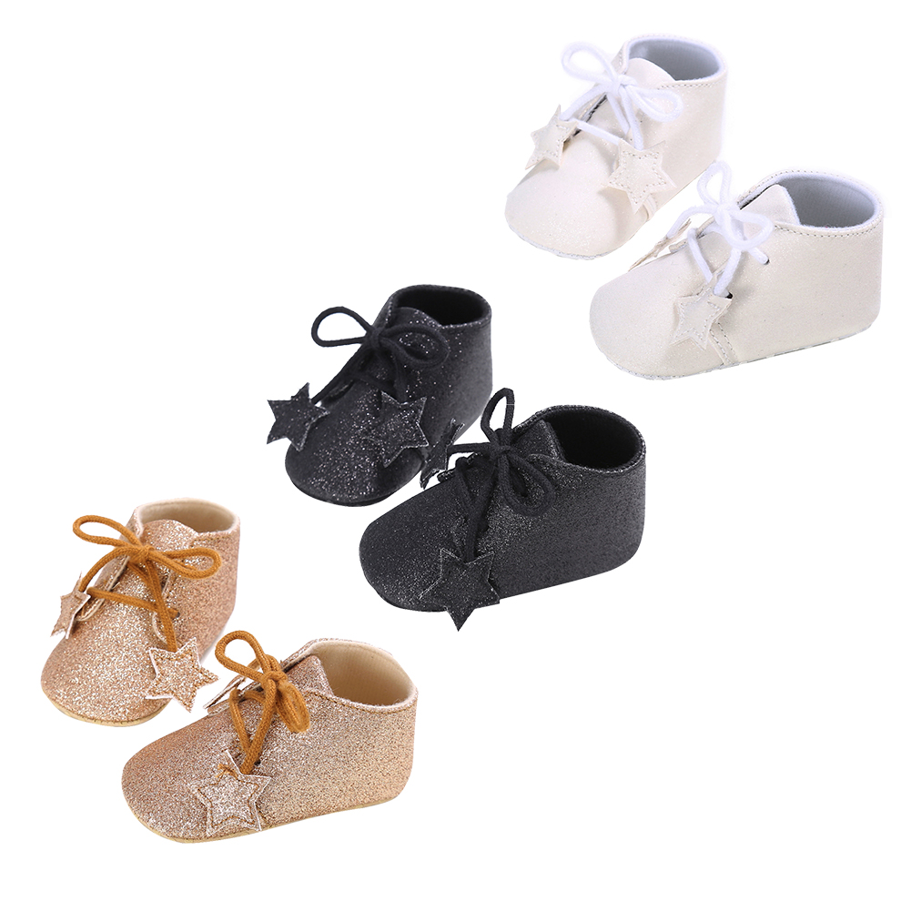 Handmade Soft Bottom Fashion Stars Shining Baby Lace-up Babies Shoes PU leather Baby Prewalkers Boots For Baby Boy Girl
