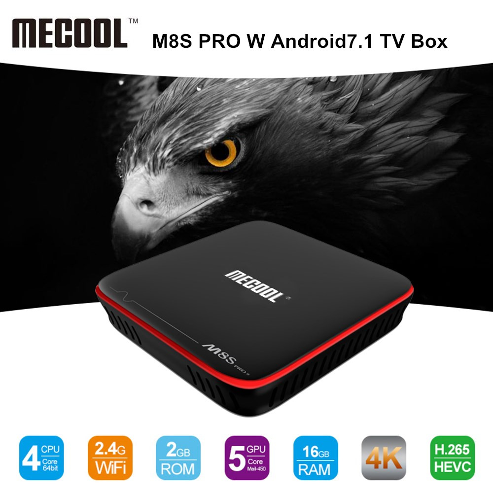 MECOOL M8S PRO W Android 7.1 TV Box Amlogic S905W CPU Quad Core 2GB RAM DDR3 16GB Smart TV Box 2.4GHz WiFi 4K H.265 Set Top Box 5pcs android tv box tvip 410 412 box amlogic quad core 4gb android linux dual os smart tv box support h 265 airplay dlna 250 254