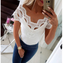 Women Summer Short Sleeve Sexy Slash Neck Lace White Vintage T-Shirt Tops t shirt Women Top Tees Shirt Feminina Camiseta Mujer