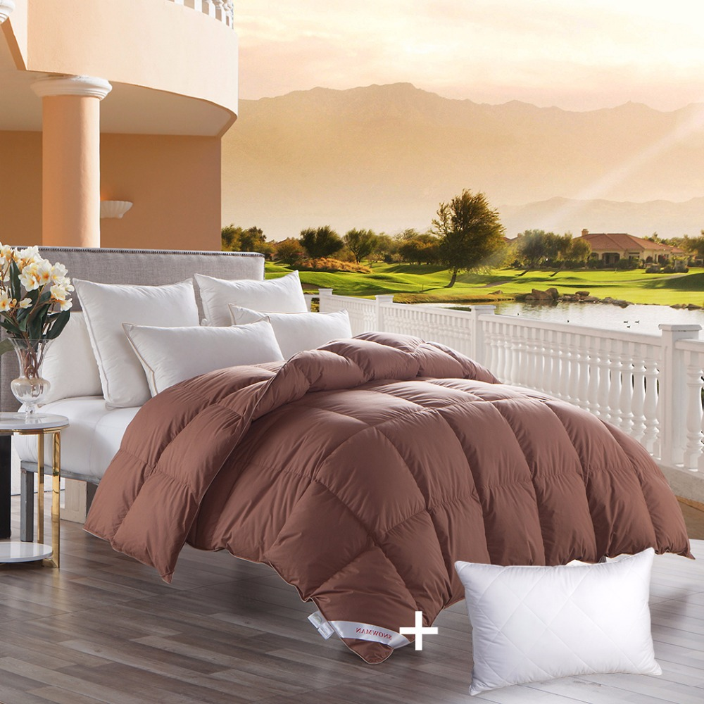 snowman bedding luxurious 600 thread count coffee goose down comforter size - Down Comforter King