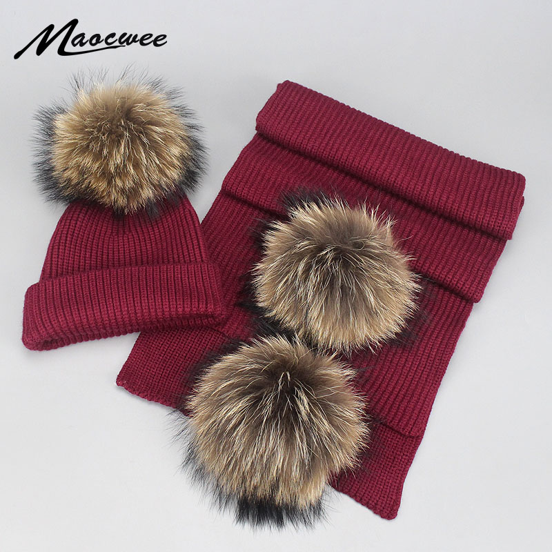 Women Adult Children Winter Hat And Scarf Sets Warm Knitted Hat Scarves 2018