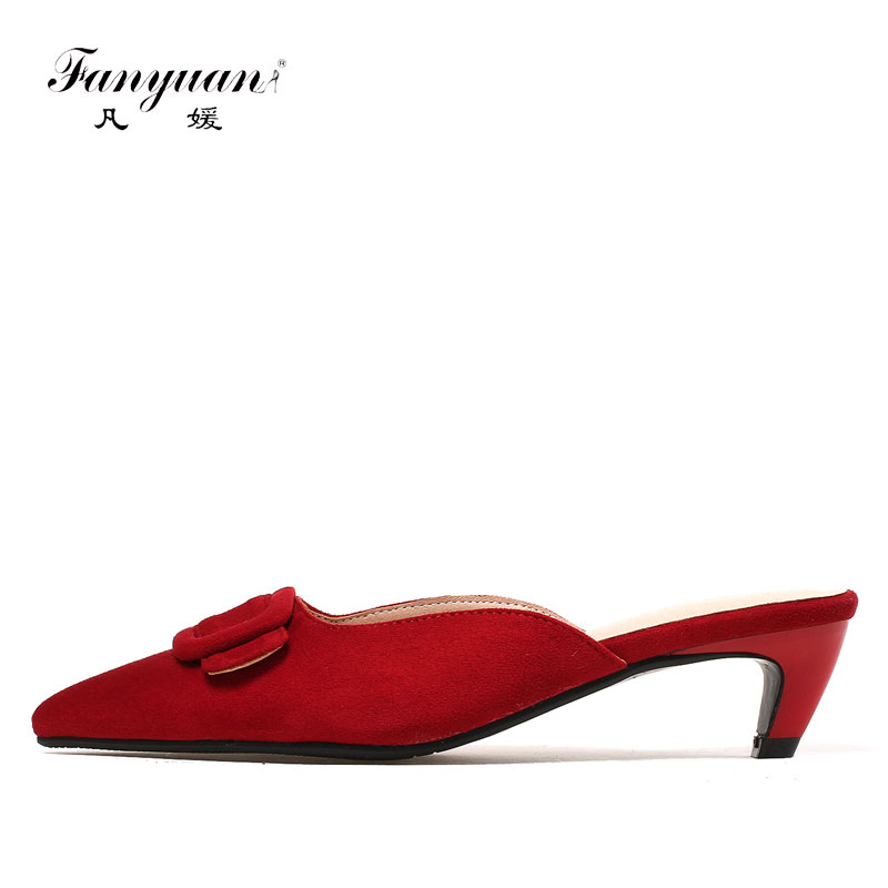 Fanyuan Women's Summer Footwear Stylish Buckle Ladies Med Heel Mules Shoes Red Pointed Toe Sexy Ladies Party Wedding Shoes