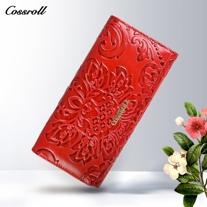 cossroll famous brand women wallets leather purse luxury brand womens wallet long ladies coin purses with floral pattern