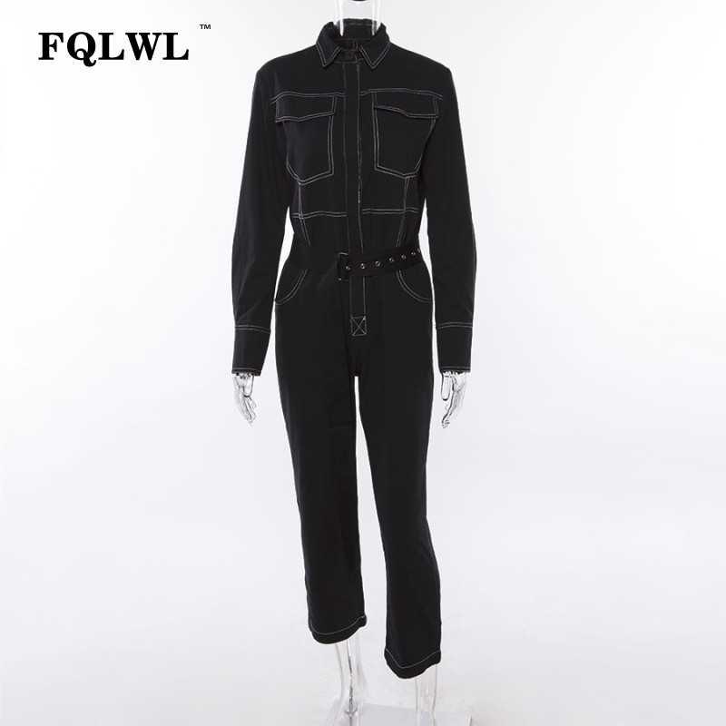 FQLWL Streetwear invierno otoño mamelucos mujer mono mujer manga larga negro blanco Jeans mono Mono para mujer