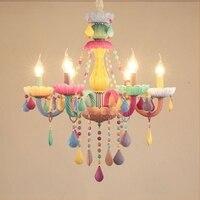 LukLoy Colorful Girl Room LED Pendant Lamp Girl Princess LED Chandelier Glass Hanging Light Drop Lighting Fixtures