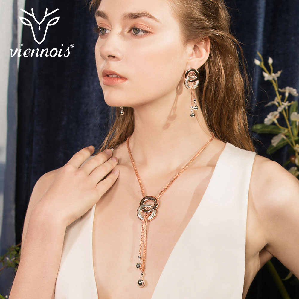 Viennois New MixSilver/ Rose Gold Color Drop Earrings Necklace Set for Women Female Party Jewelry Sets 2019