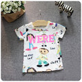 2016 Wear New Children's Garment Girl Baby Doodle Cartoon Villain Short Sleeve Pity Girl Base Bottoming Unlined Upper Undershirt