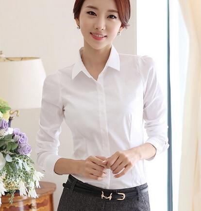 56a3bac7082 Korean White Plus Size XXXXXL Spring Office Work Wear Women Shirt Long  Sleeve Slim Formal Blouses Female OL Women Tops Cardigan
