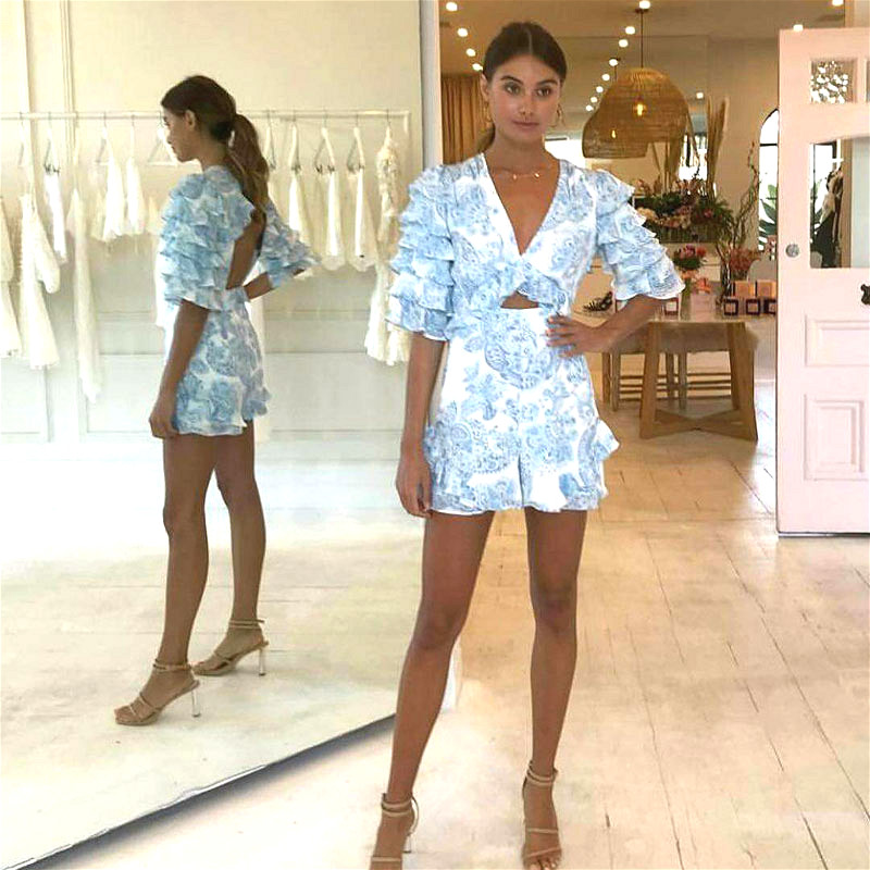 V-neck Sexy Holiday Backless Ruffle Playsuit Rompers Womens Beach Blue   Jumpsuit   Vocation and Beach Overalls for Women