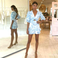 V neck Sexy Holiday Backless Ruffle Playsuit Rompers Womens Beach Blue Jumpsuit Vocation and Beach Overalls for Women
