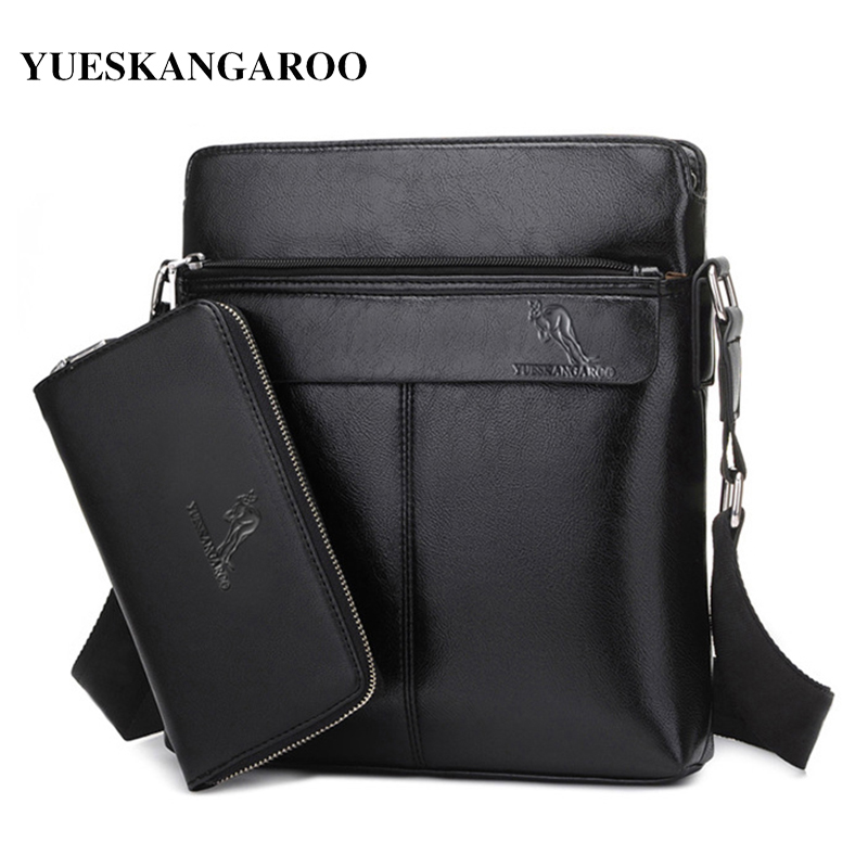 YUES KANGAROO Brand Leather Messenger Bags Men Casual Business New Fashion Briefcases Men's Crossbody Shoulder Bag For Ipad yues kangaroo brand men bag leather casual high quality shoulder crossbody bags classical business briefcase mens messenger bag