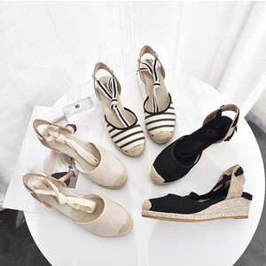 Image 1 - 5 סנטימטר עקב טריז נשים 2019 קיץ נעלי בד סנדלי