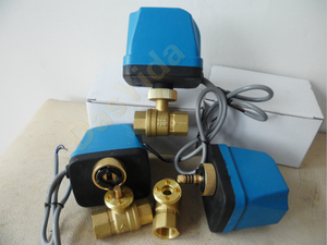 """Image 1 - DN15(G 1/2"""") AC220V 2 way 3 wire motorized brass ball valve with electric actuator controller"""