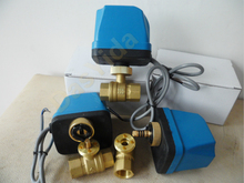 """Válvula de bola de latón motorizada DN15(G 1/2 """") AC220V, 2 vías, 3 cables, con controlador de actuador eléctrico"""