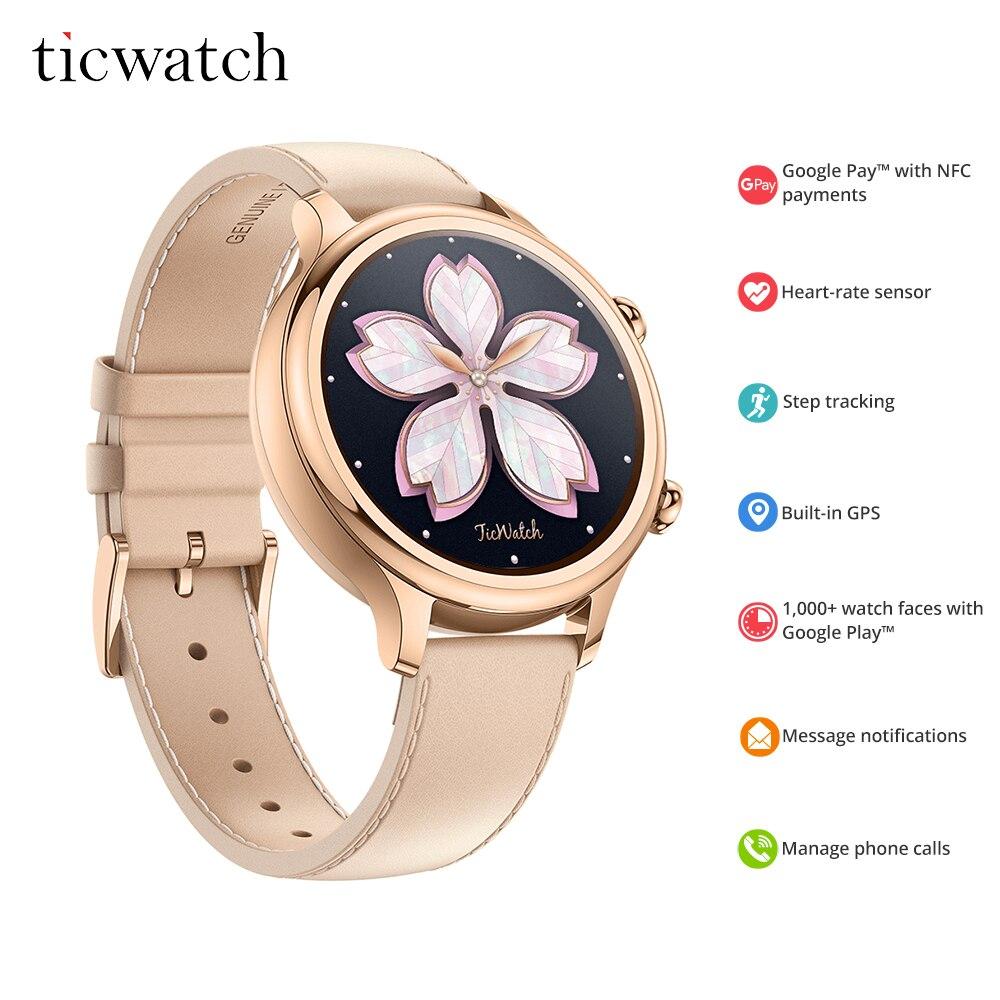 Original Ticwatch C2 Smartwatch Desgaste OS pelo Google Embutido GPS Monitor De Freqüência Cardíaca de Fitness Rastreador Google Pay-Presente Livre cinta