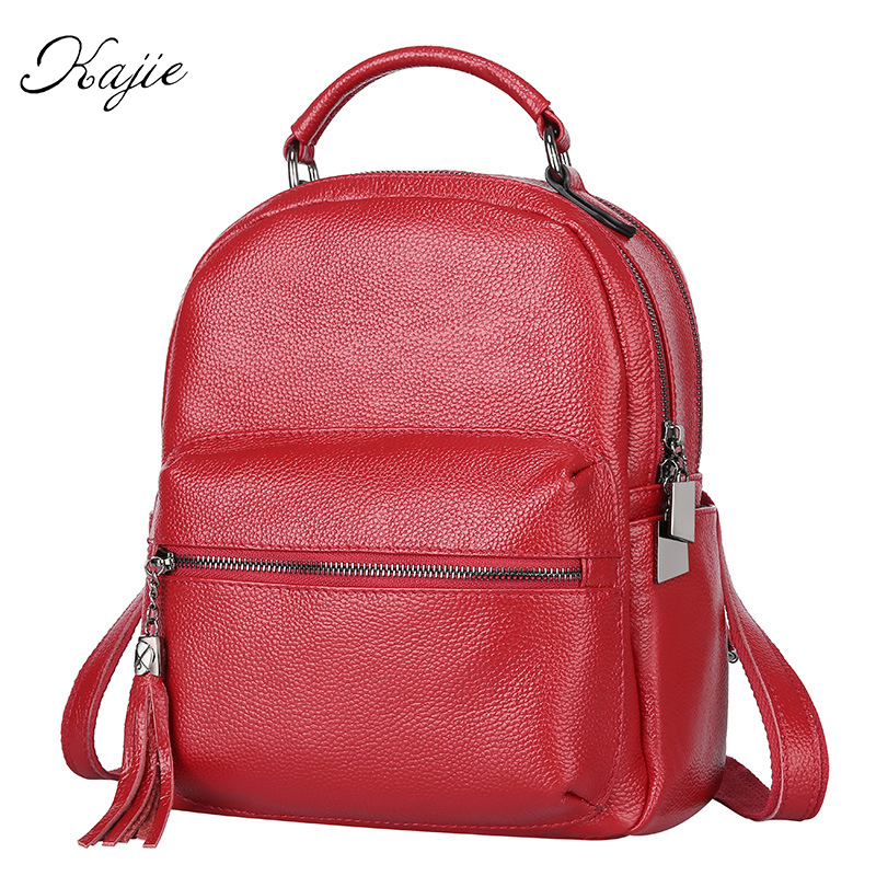 Kajie Designer England Small Casual Backpack Women Red And Black Travel Genuine Leather Ladies Fashion Female Back Pack Bags kajie famous brand designer backpack for women 2018 retro genuine leather female back pack oil wax cow leather ladies travel bag