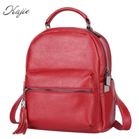 Kajie Designer England Small Casual Backpack Women Red And Black Travel Genuine Leather Ladies Fashion Female