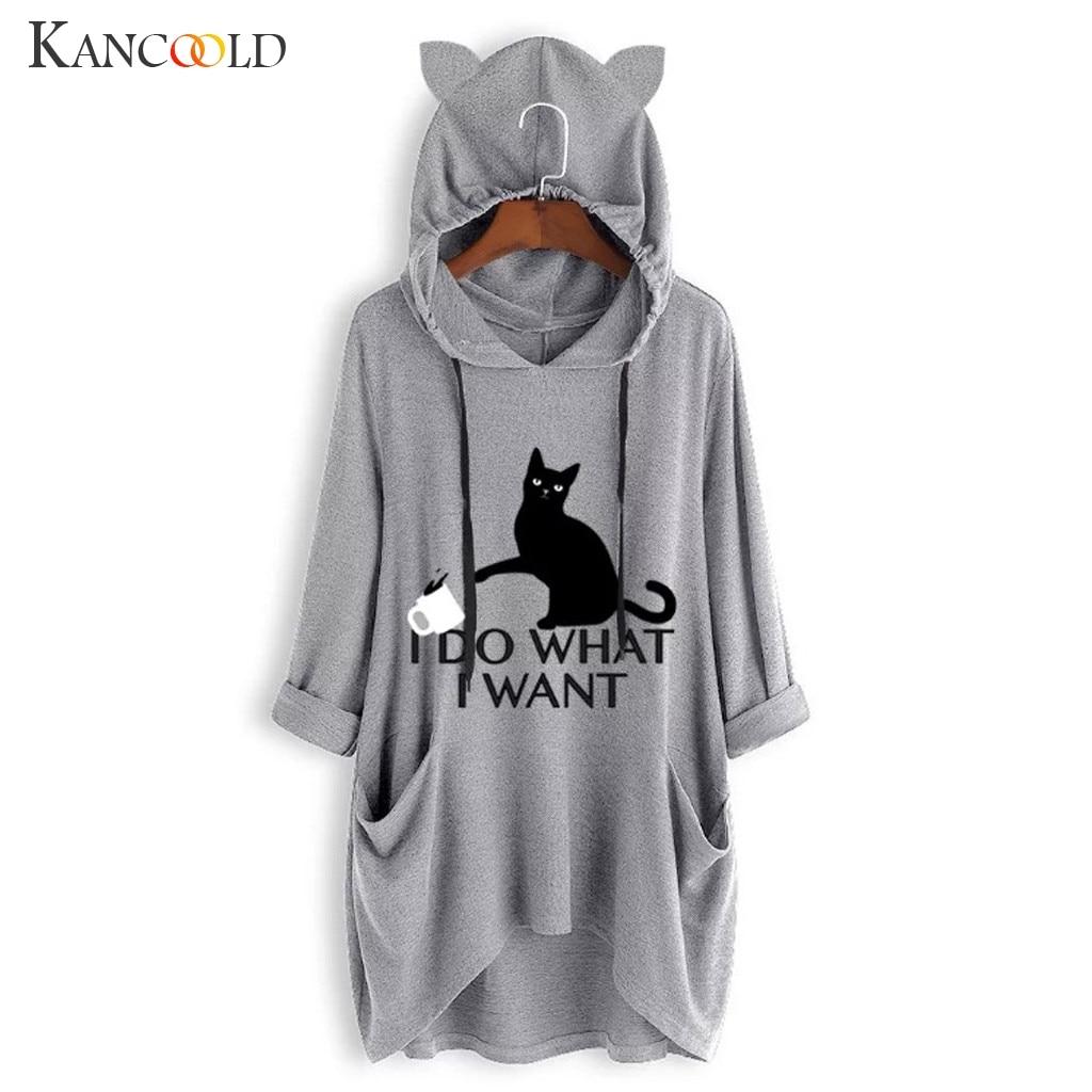 Women Casual Printed Cat Ear Hooded T-Shirt Long Sleeves Pocket Irregular fashion 3