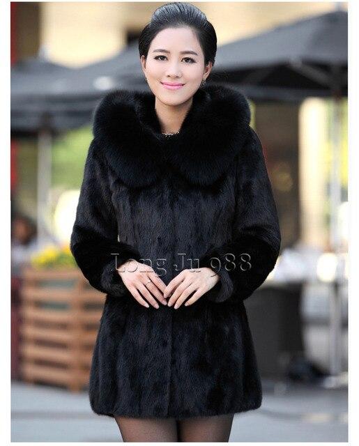 Новый 2015 люкс искусственного меха кролика пальто женщин зимнее пальто мода с капюшоном FoxFur воротник средней длины - долго леди пальто элегантных женщин пальто