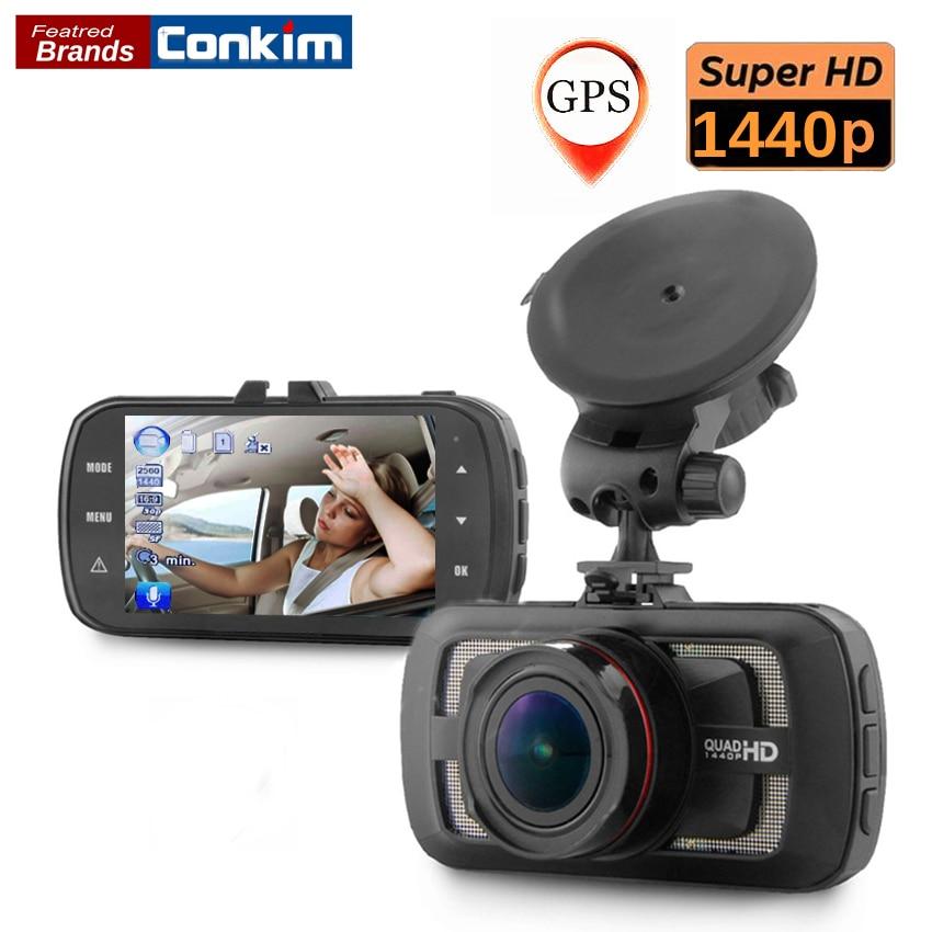 Conkim Car DVR Camera Ambarella A12 Chip Car Camera Video Recorder 178 Degree 2560*1440P Super HD Dashcam GPS Logger HDR DAB205