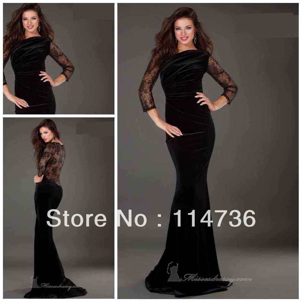 0b4632a52a8 Hot sale Bateau Mermaid Brush Velvet Black Long sleeves Lace Prom dresses  new Evening dresses 2013