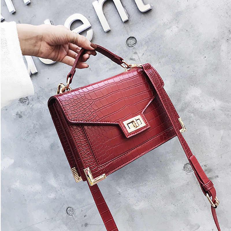 85cec6b0e6b1 Сумки для женщин 2018 роскошные сумки для женщин Дизайнер крокодил узор  кожа плеча Сумка Bolsa Mujer