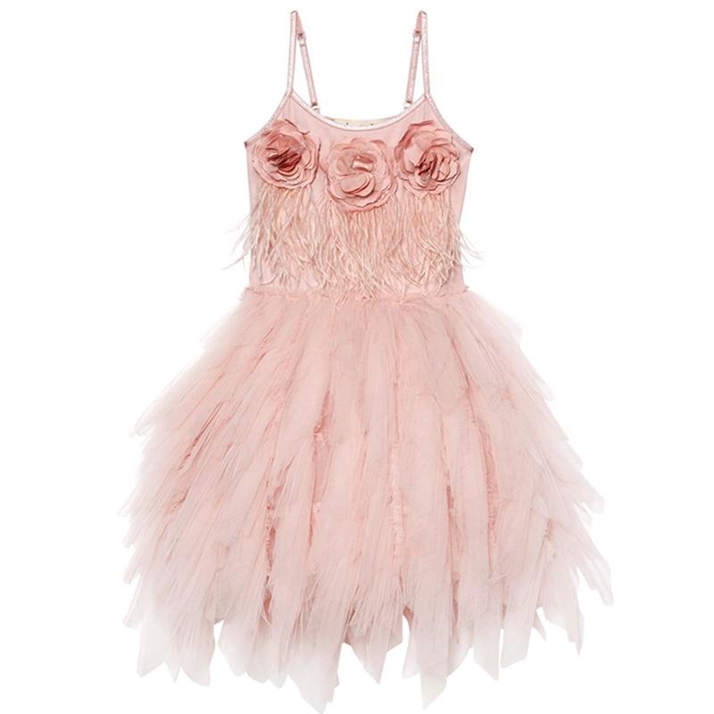 Elegant Girls Dress With Flowers Sleeveless Princess Dress For Party Kids Dresses For Girls Costume Children Wedding Dress