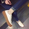 The new 2017 spring and summer and wool leather large base sponge female white shoe lace white sneakers
