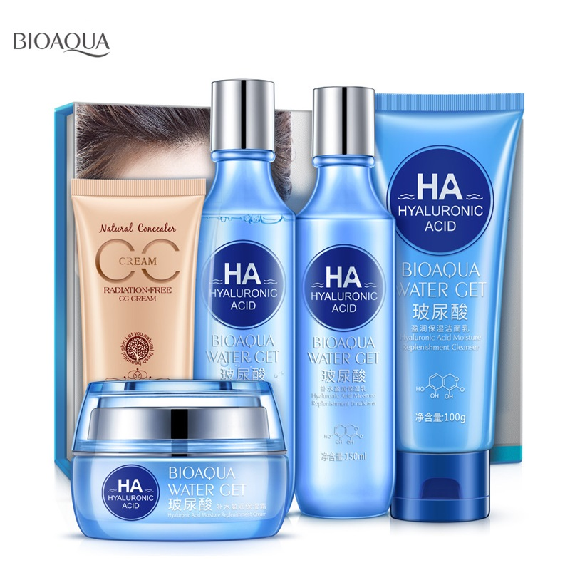 Bioaqua Skin Care Set Hyaluronic acid Face Cream Facial Cleanser Toner Lotion BB Cream Anti Wrinkle Anti Aging Skin Care Product цена