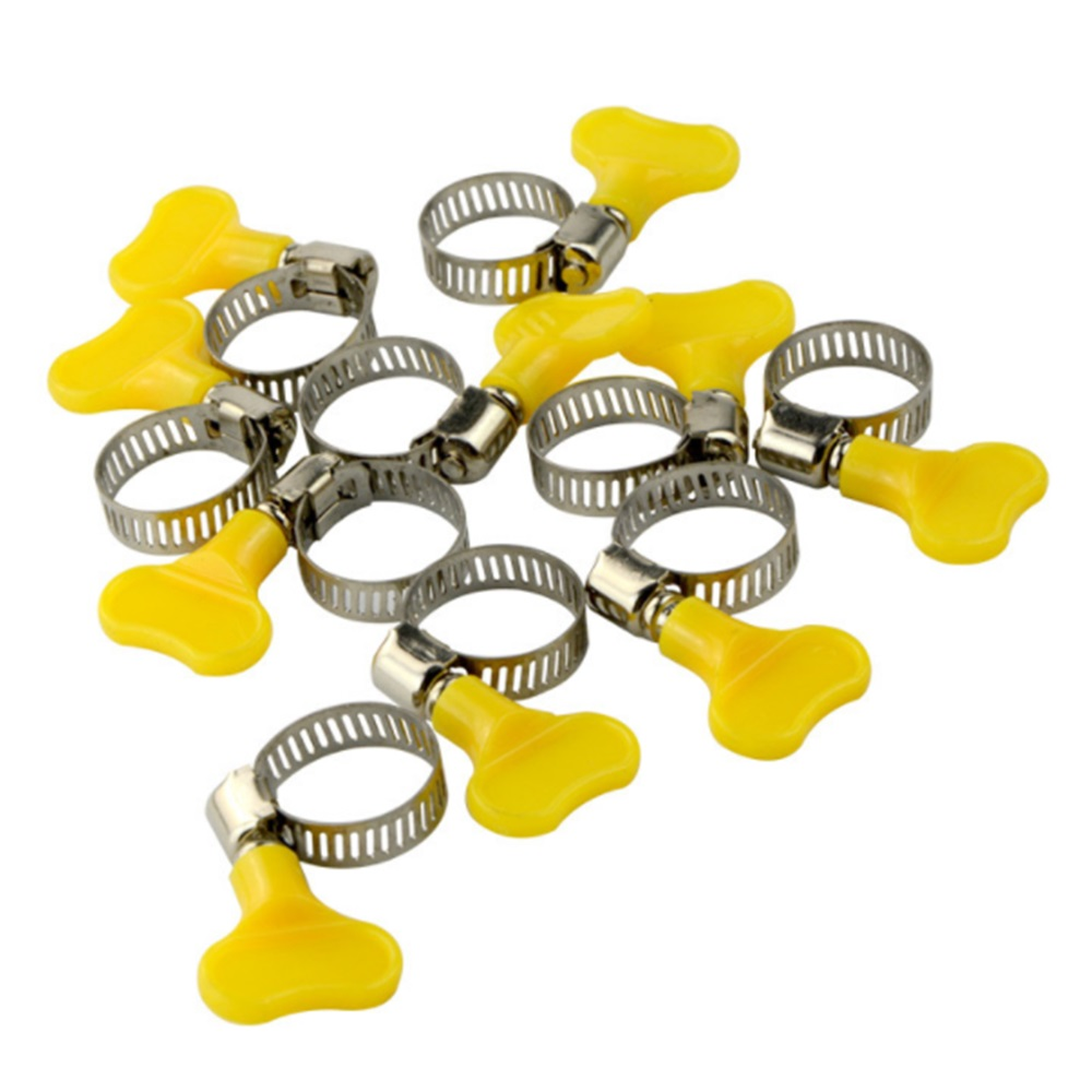 10cs/lot 9mm HOT SALE Usage Butterfly Stainless Steel Mini Jubilee Fuel Hose Clamps Clip Fit