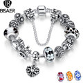Silver Plated Heart Beads Charms Bracelet Women Safety Chain Link Bracelets & Bangles Original Compatible with Silver Jewelry