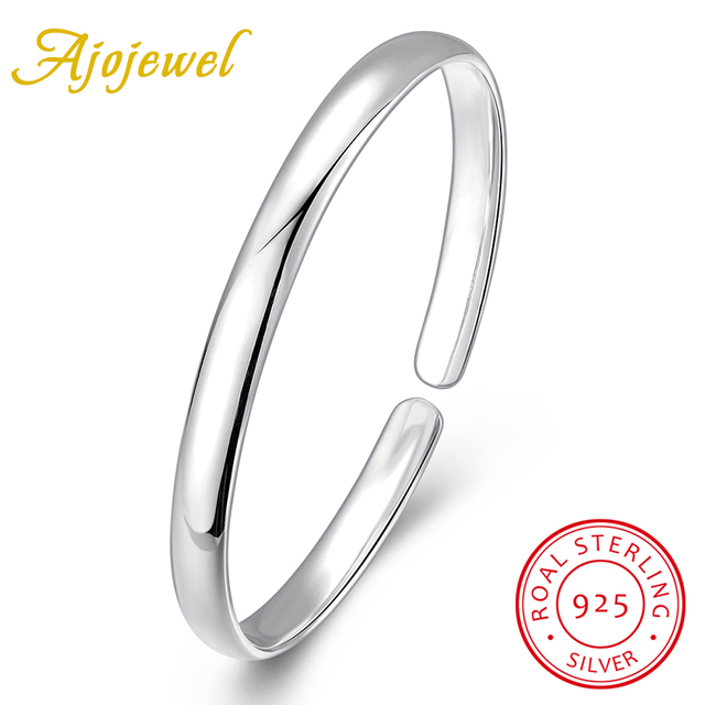 Ajojewel New Lady Girls Bangle Simple Round Bangle 925 Sterling Silver Jewelry Gift Ideas For Women