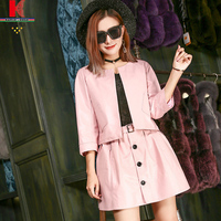 Suits Cheap 2 Piece O Neck Button Slim Fit Blazer Navy Fashion Ladies Pink Pencil Skirt Girls Full Leather Motorcycle Suits