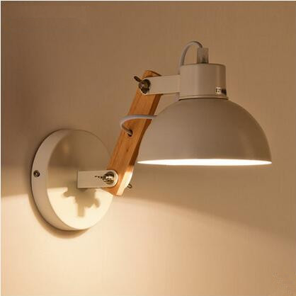 Nordic Modern LED Wall Sconce Adjust Wooden Iron LED Wall Light ...