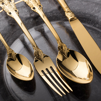 Vintage Western Gold Plated Dinnerware Dinner Fork Knife Set Golden Cutlery Set Stainless Steel 4 Pieces Engraving Tableware
