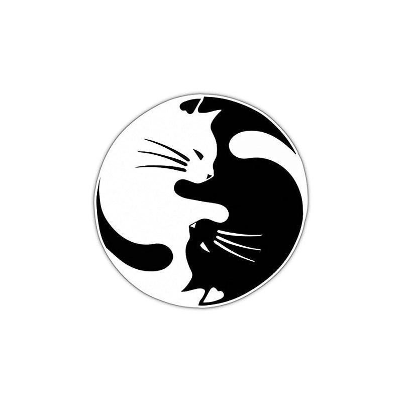 ★  Fusion Yoga Cat Circle Art Бампер Стороны Виниловая Наклейка Наклейка на Автомобиль Кузова Декор Нак ✔
