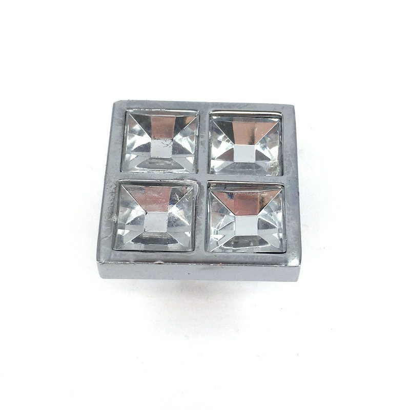 26MM kitchen cabinets knobs clear crystal zinc alloy square drawer dresser handle knobs cupboard pulls