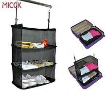 MICCK Портативный дорожная сумка для хранения гардероб дорожная сумка органайзер на стену молния висит нейлоновая сетка Сумка Обувь Одежда стеллаж для хранения