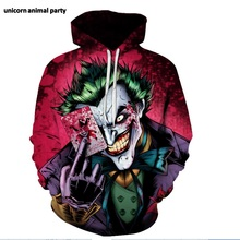 Size s - 5 xL 3d digital print Kigurumi Cosplay Halloween street hip-hop clown hoodie long sleeve casual pullover