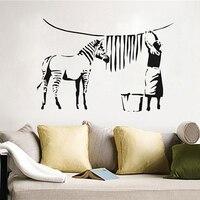 뱅크시 멋진 만화 동물 얼룩말 말 사람들이 벽 스티커 거실 침실 비닐 아트 diy 벽지 벽화 홈 장식 60x90 cm